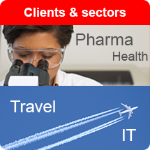 Communiquer clients and sectors Pharma Health Travel IT